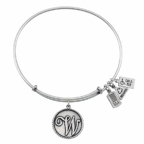 "Love Letters ""W"" Charm Bangle, Recycled Brass"
