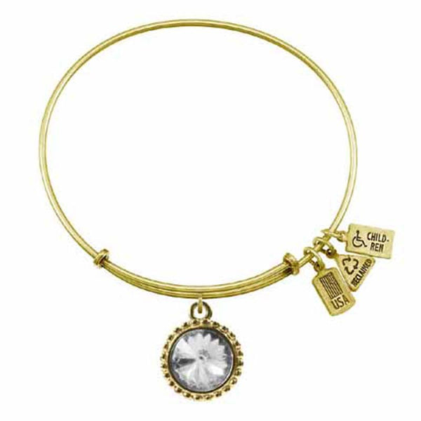 Apr. Birthstone Bangle, Crystal, Recycled Brass