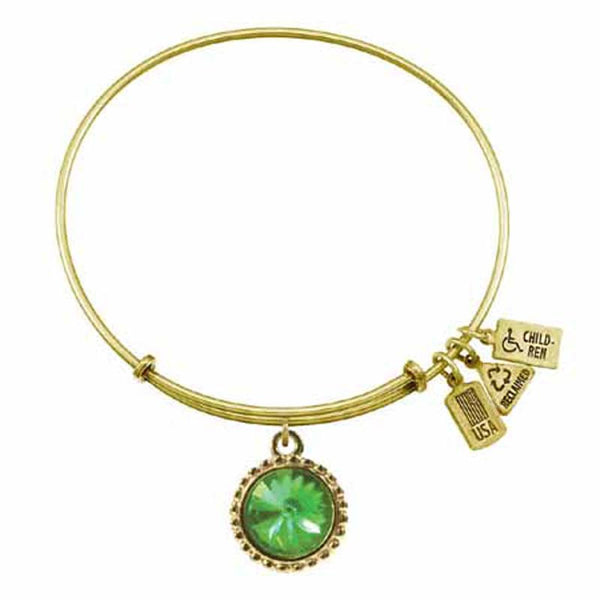 Aug. Birthstone Bangle, Crystal, Recycled Brass