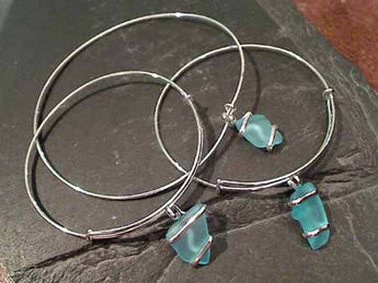 Recycled Glass, Silver Plated Bangle - Aqua