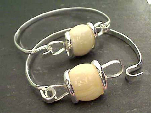 Glass, Silver Plated Bracelet - Cream