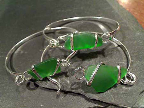 Recycled Glass, Silver Plated Bracelet - Green