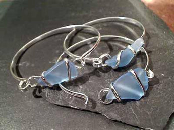 Recycled Glass, Silver Plated Bracelet - Sky