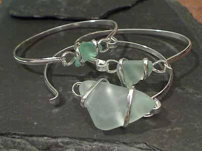 Recycled Glass, Silver Plated Bracelet - Foam