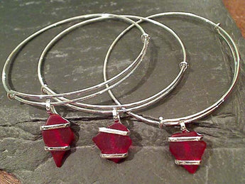 Recycled Glass, Silver Plated Bangle, Red
