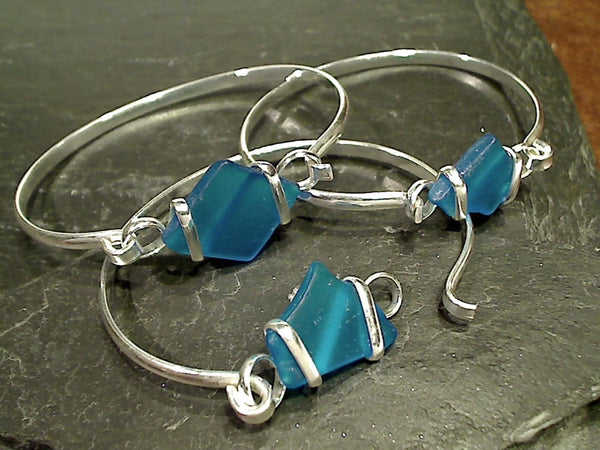 Recycled Glass, Silver Plated Bracelet, TQ Blue