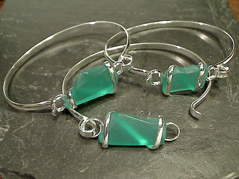 Recycled Glass, Silver Plated Bracelet, Teal