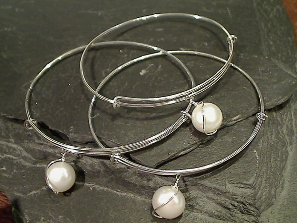 Pearl, Silver Plated Bangle