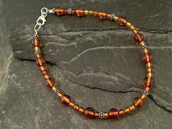"8"" Amber and Sterling Silver Bracelet"