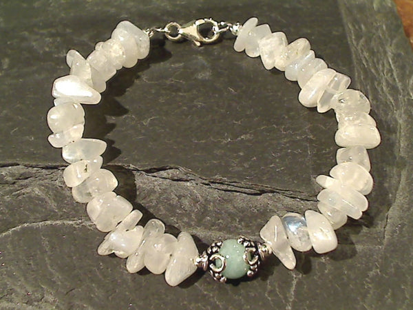 "7.5"" Moonstone, Amazonite Sterling Silver Bracelet"
