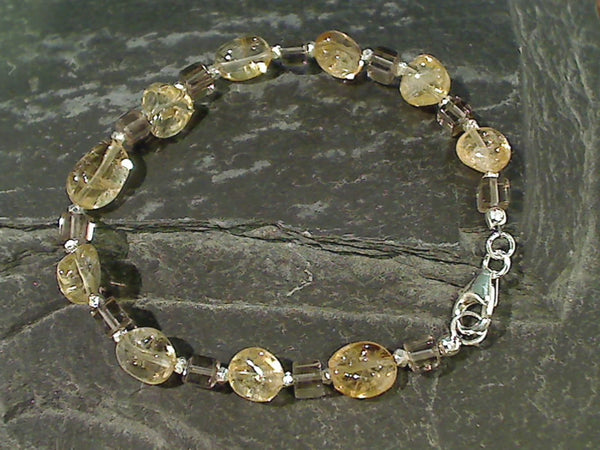 "7.5"" Citrine, Smokey Quartz, Sterling Bracelet"