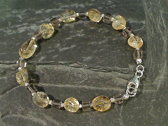 "7"" Citrine, Smokey Quartz Sterling Silver Bracelet"