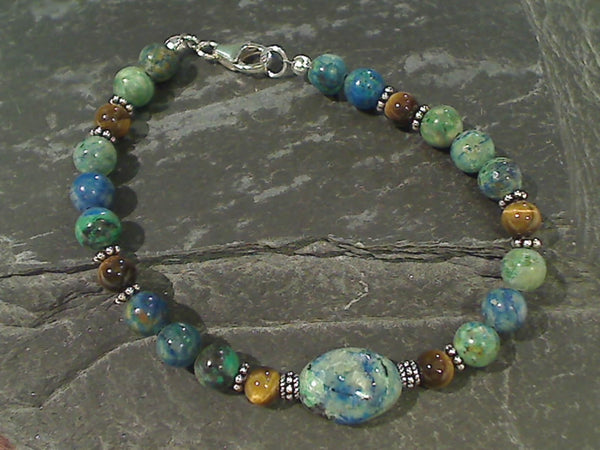 "7.75"" Chrysocolla, Tiger's Eye Bracelet"