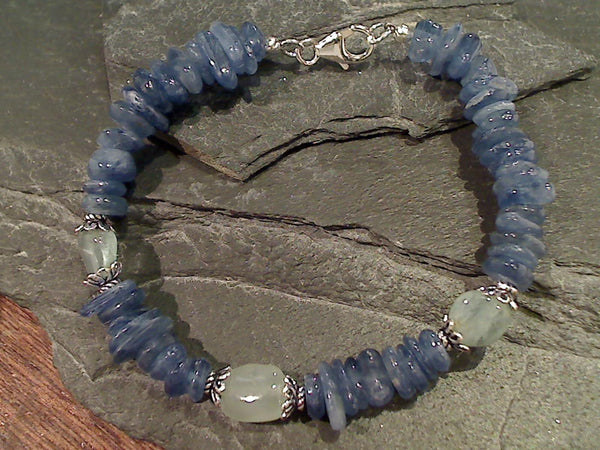 "8"" Kyanite, Aquamarine, Sterling Silver Bracelet"