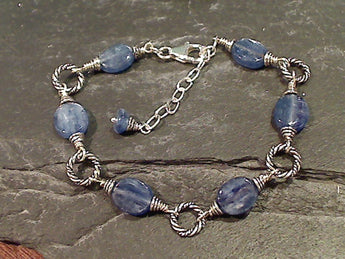 "7""-8"" Kyanite, Sterling Silver Bracelet"