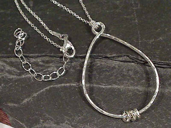 "Sterling Silver Hammered Necklace, 16""-18"""