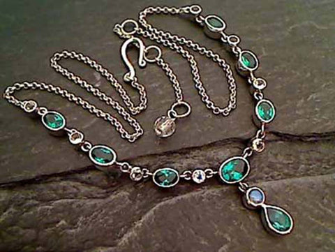 "Green Quartz, Moonstone, .925 Necklace, 15""-17"""