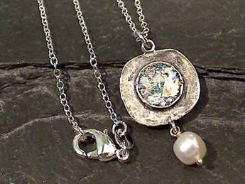 "18"" Roman Glass, Pearl, Sterling Silver Necklace"