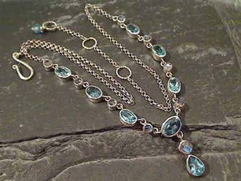 "Blue Topaz, Moonstone, .925 Necklace, 15.5""-17"""