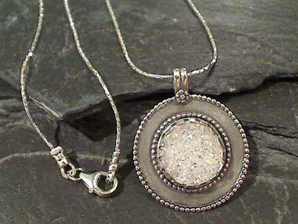 "17.5"" Druzy Quartz, Sterling Silver Necklace"