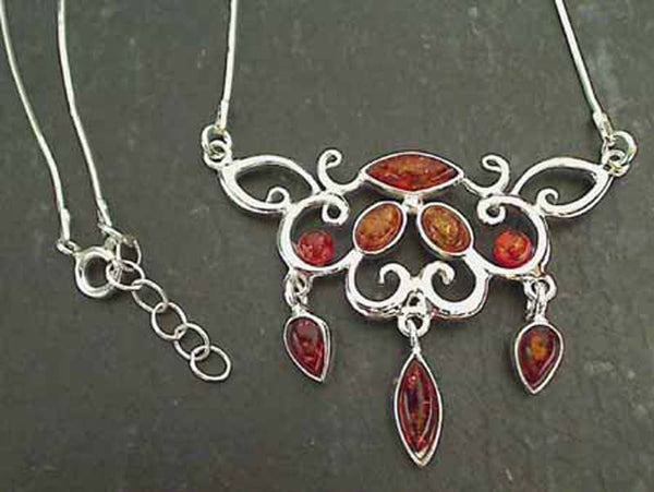 "16.75""-17.75"" Amber, Sterling Silver Necklace"