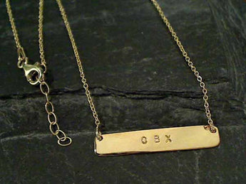 "Gold Plate over Sterling OBX Necklace 16"" - 17"""