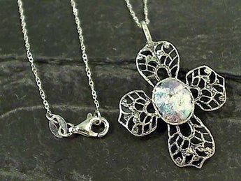 "Roman Glass, Sterling Silver 18"" Necklace"