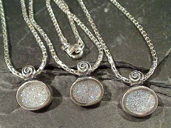 Druzy Quartz, Sterling Silver Necklace, 17""