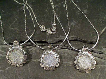 Druzy Quartz, Sterling Silver Necklace, 16.5""