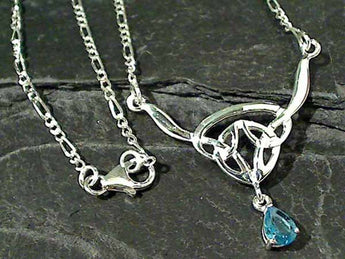 "17"" Blue Topaz, Sterling Silver Necklace"