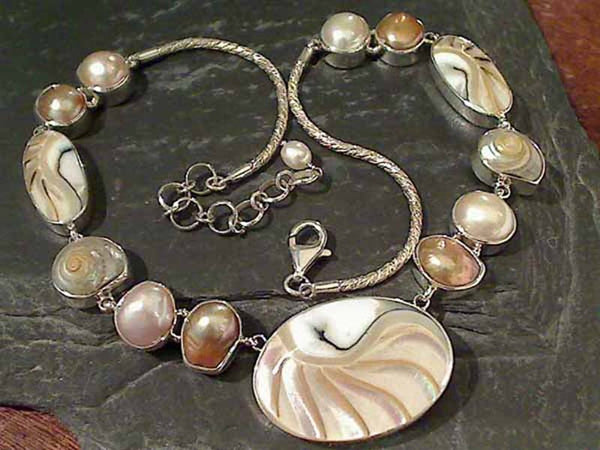 "16.5""-18.25"" Shell, Pearl Sterling Silver Necklace"