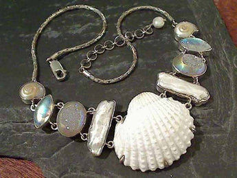 "16""-18"" Druzy, Moonstone, Shells, Pearl Necklace"