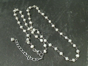 "16"" - 18"" Pearl, Sterling Silver Necklace"