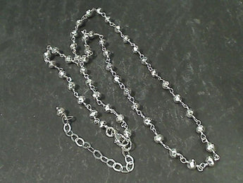 "20"" - 22"" Coated Pyrite, Sterling Silver Necklace"