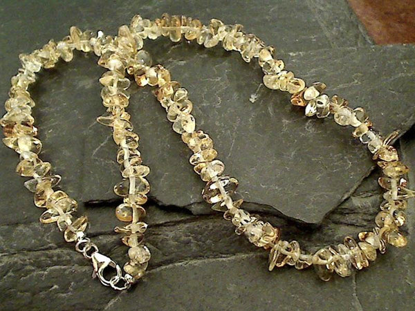 "17"" Citrine, Sterling Silver Necklace"