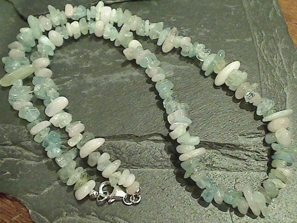 "17"" Aquamarine/Beryl Mix, Sterling Silver Necklace"