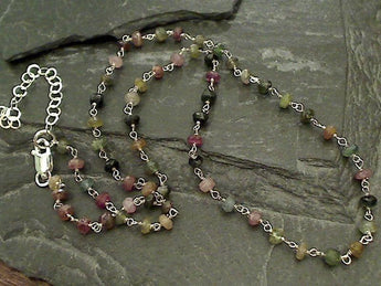 "14"" - 16"" Tourmaline, Sterling Silver Necklace"