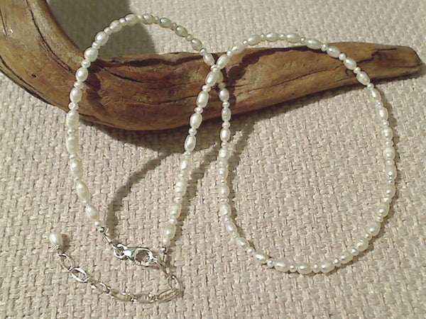 "15""-17"" Pearl, Sterling Silver Necklace"