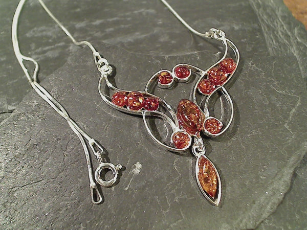 "17"" Amber, Sterling Silver Necklace"