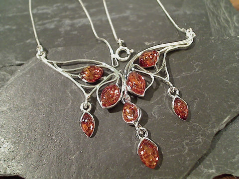 "16.5"" Amber, Sterling Silver Necklace"
