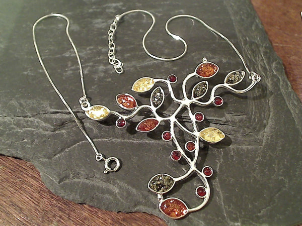 "16.5""-18"" Amber, Sterling Silver Necklace"