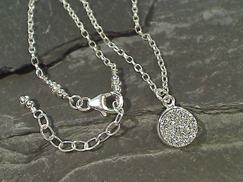 "16"" - 18"" Druzy Quartz, Sterling Silver Necklace"