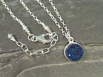 "20"" - 22"" Druzy Quartz, Sterling Silver Necklace"