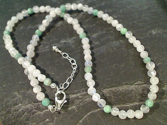 "20"" - 21"" Amazonite, Moonstone Necklace"