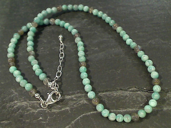 "20"" - 21"" Amazonite, Labradorite Necklace"