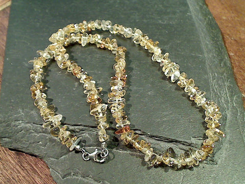 "19.5"" Citrine, Sterling Silver Necklace"