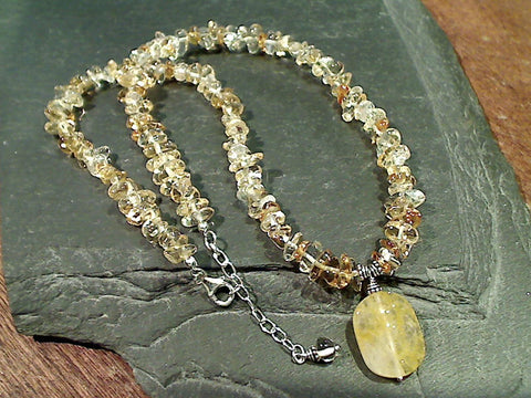 "18""-19"" Citrine, Sterling Silver Necklace"