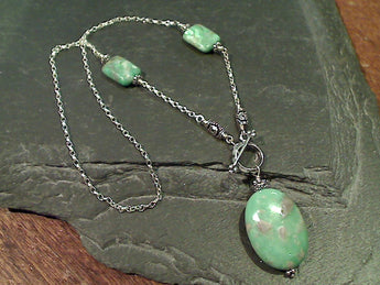 "16"" Variscite, Sterling Silver Toggle Necklace"