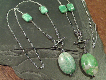 "18"" Variscite, Sterling Silver Toggle Necklace"