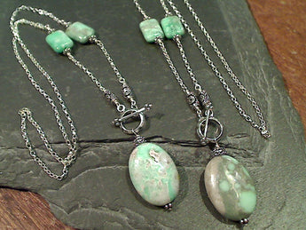 "20"" Variscite, Sterling Silver Toggle Necklace"